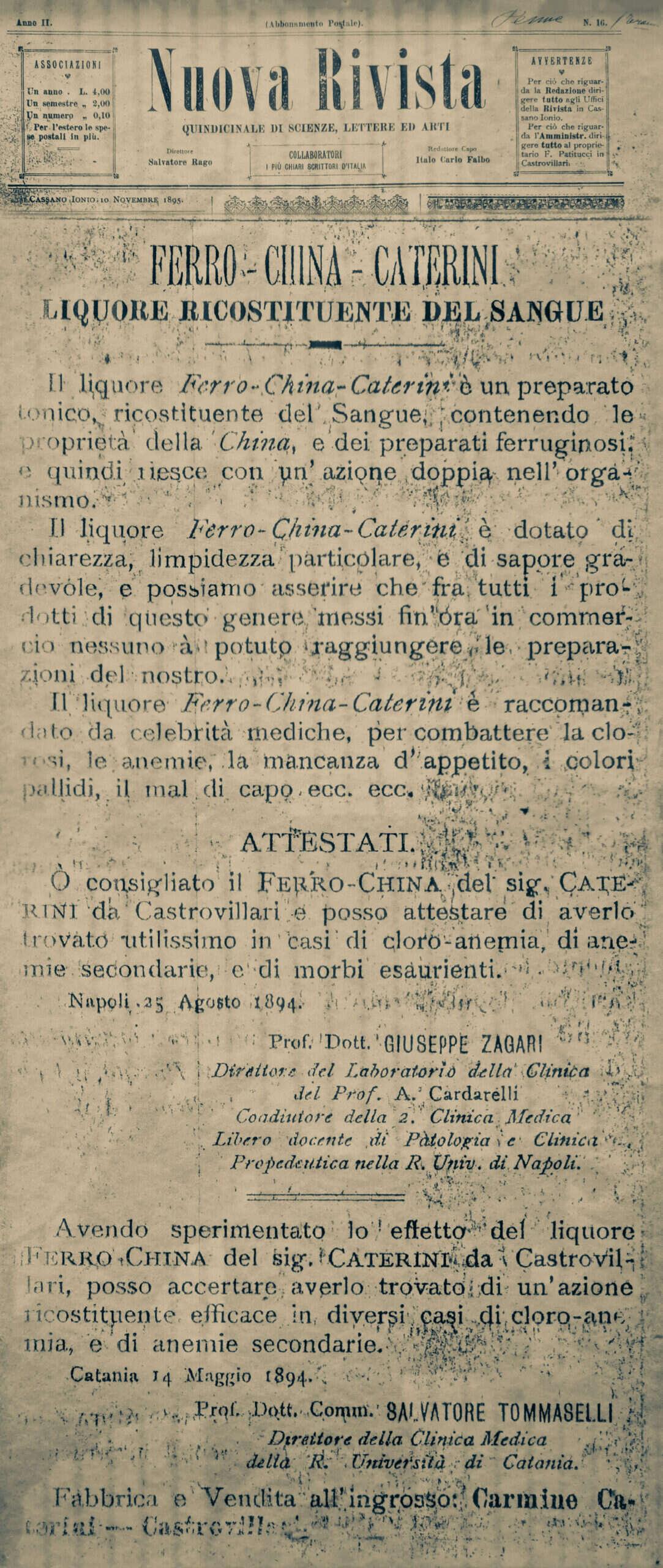 Ferrochina Caterini Nuova Rivista 1895 articolo